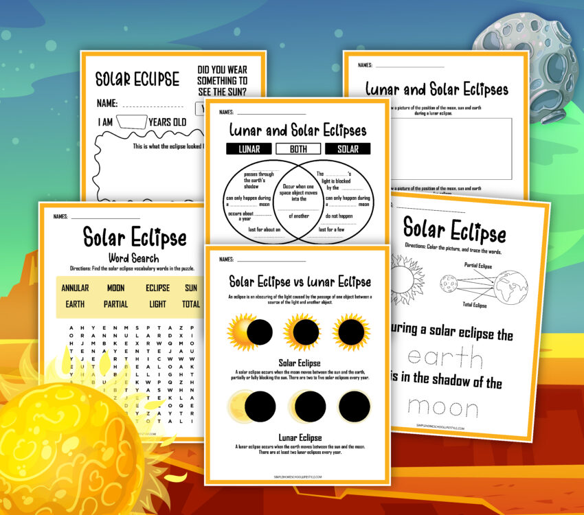 Free Solar Eclipse Worksheet PDF Packet